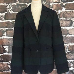 Banana Republic stripe blazer jacket green blue 16